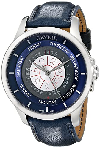 Gevril Men s 2000 Columbus Circle Automatic Stainless Steel Day-Date Watch With Handmade Leather Strap