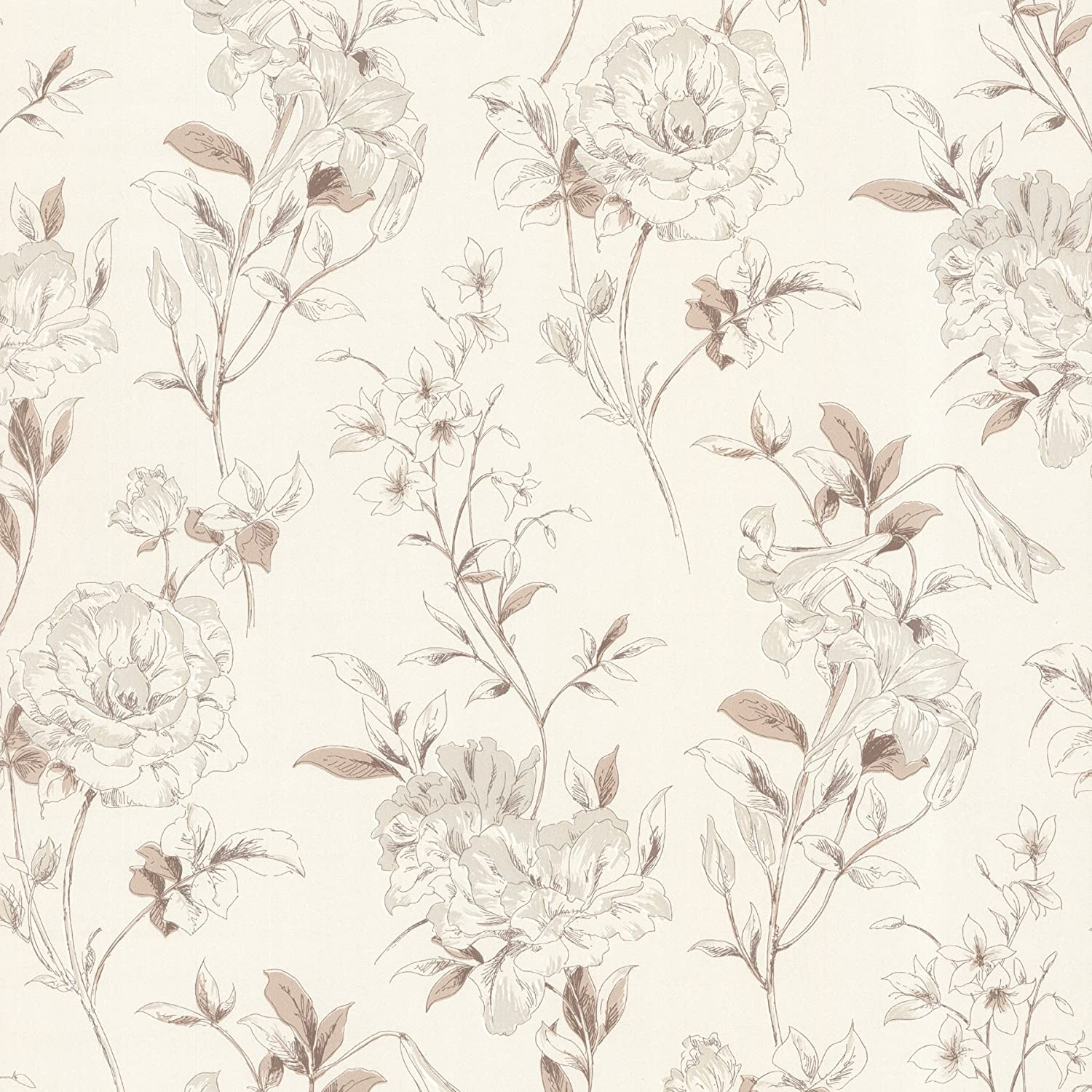 Beacon House 450 67372 Jolie Beige Floral Toss Wallpaper Beige