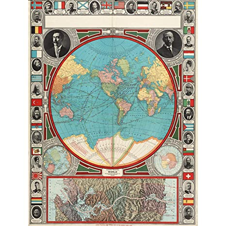 GPC 1913 World Map Colonial Power Panama Canal Extra Large ...