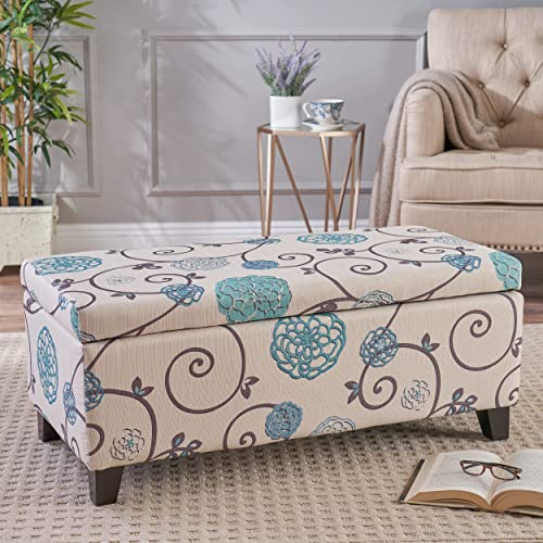 Christopher Knight Home Living Brenway Pattern Fabric Storage Ottoman, 19.00 L x 38.50 W x 16.00 H, White and Blue Floral