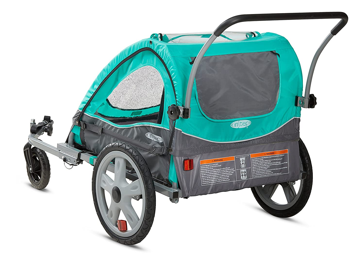 Converts to Stroller//Jogger for Kids and Children Featuring 2-in-1 Canopy and 16-Inch Wheels Instep Quick-N-EZ Double Seat Foldable Tow Behind Bike Trailers Multiple Colors Available