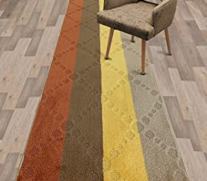 Remnaz Home Decor 12 ft Long Narrow Indoor Carpet Runner Rugs for Hallway Entryway Kitchen Floor with Non Slip Rubber Backing, Soft Light-Weight Shed-Free, Beach House Multi, 2 x 12 (2'1'' x 12')