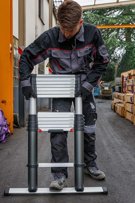 3,8 m 13 Sprossen Einsatz Teleskopleiter Anlegeleiter EZSTEP 100000 Alu Leiter EVO-PROLEAN 0,86