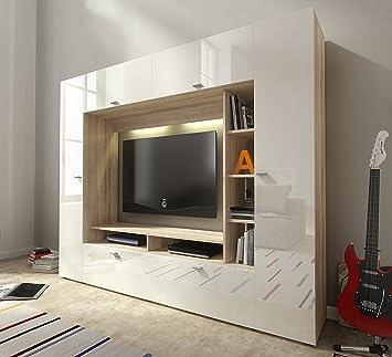 Mb Moebel Moderne Wohnwänd Wohnzimmer Möbel Schrankwand Mit LED Beige Weiß  Hochglanz Malawi