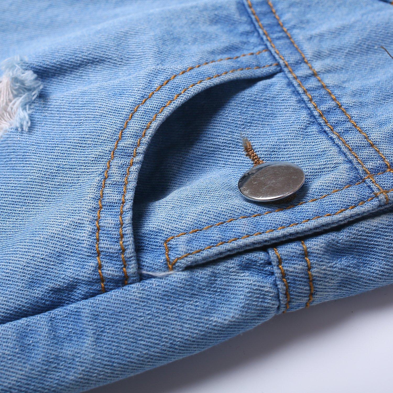 Kidscool Baby & Toddler Girls/Boys Big Bibs Ripped Hole Summer Jeans Shortalls,Light Blue,4-5 Years by Kidscool (Image #6)