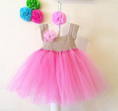 Vestido Crochet Con Tul Para Niña Bebé Amazoncommx Handmade
