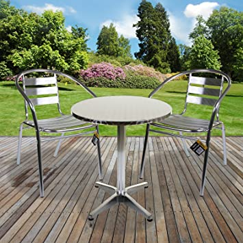 1x Table 2x Chairs Aluminium Lightweight Chrome Bistro Sets