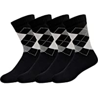 ARKYLE Men's Formal Socks with Cushion Cotton, Pack of 4 (Multicoloured, Free Size)