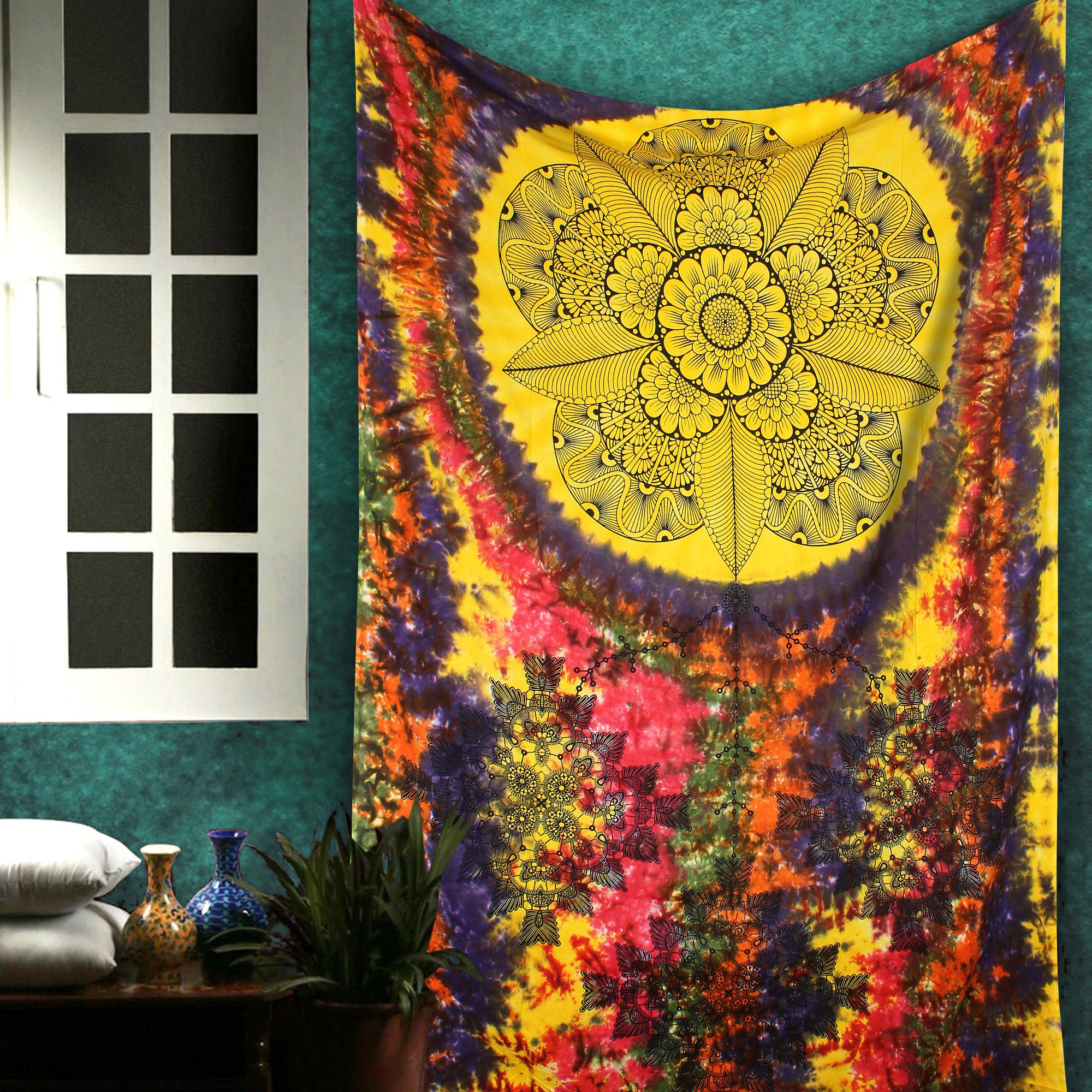 The Indian Craft Mandala Tapestry, Dream Catcher Wall Hanging, Multicolor Tie Dye Hippie Boho Bohemian Beach Throw Tapestries, Table Cloth Cover By