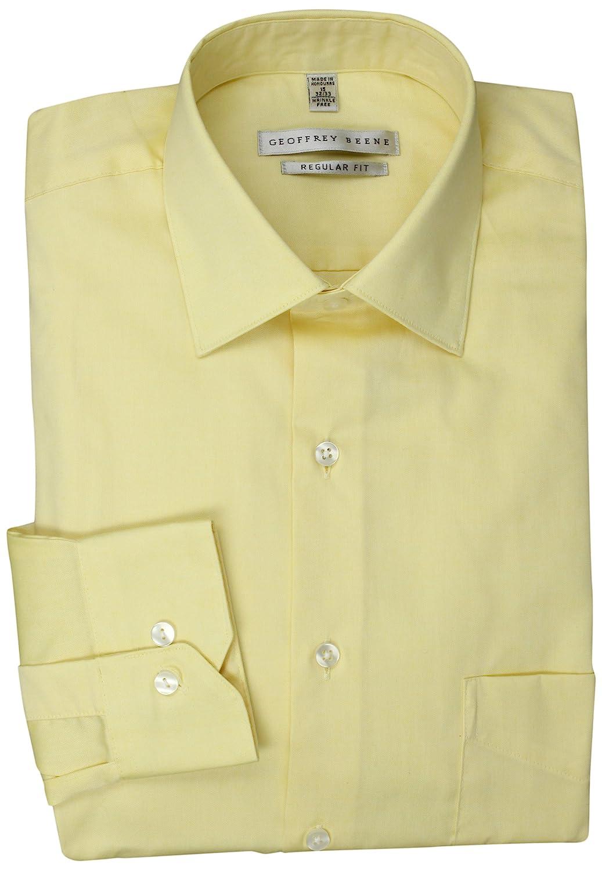 Geoffrey Beene Mens Pale Yellow Solid Dress Shirt Buttercream 15