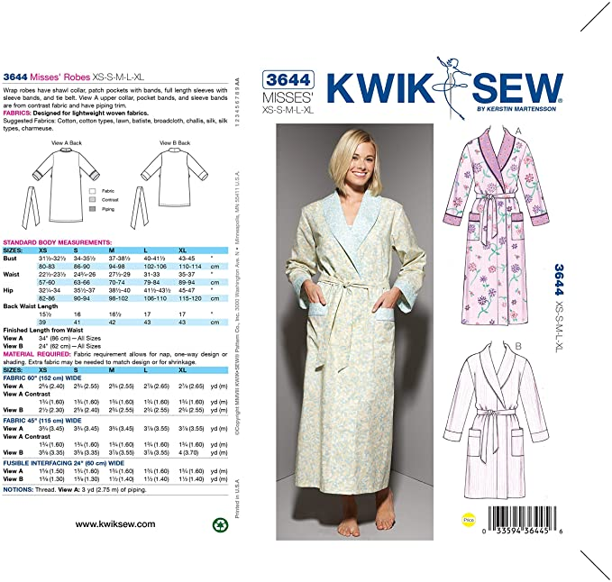 Amazon.com  Kwik Sew K3644 Robes Sewing Pattern 46327da61