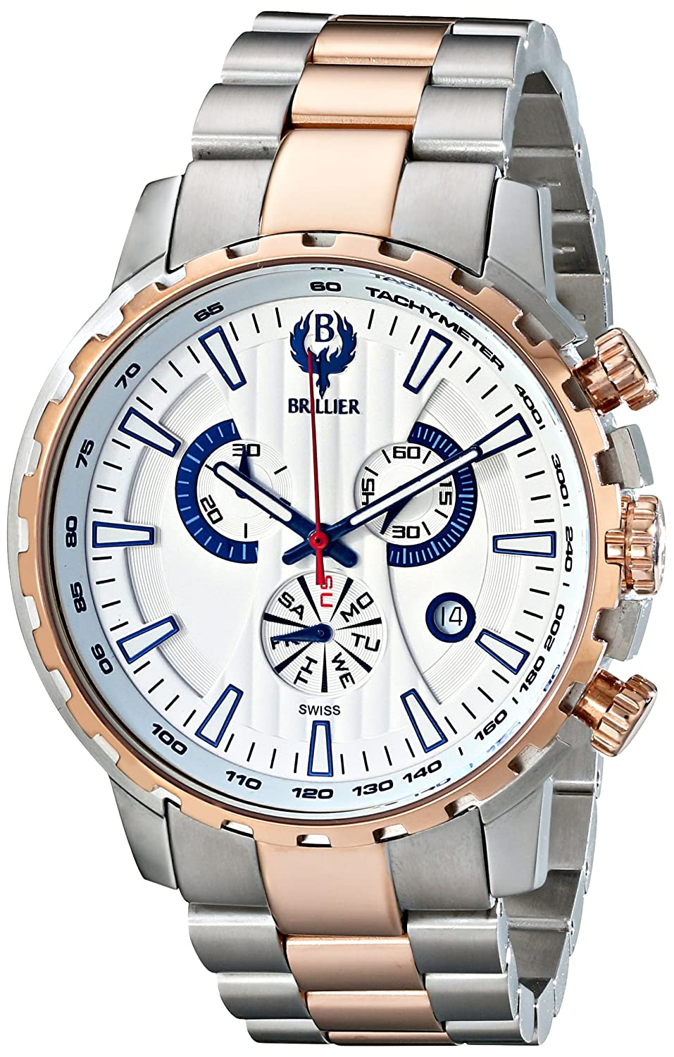 Brillier Herren 16-03 Endurer Rose Gold Chronograph Swiss Quartz Armbanduhr