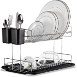 Premium Quality Chrome-Plated Steel 2-Tier Dish Drying Rack W/ Drainboard By MosesMo – Sturdy & Durable Dish Drainer W/ Tray – Classic & Stylish - Bonus Detachable Cup Included