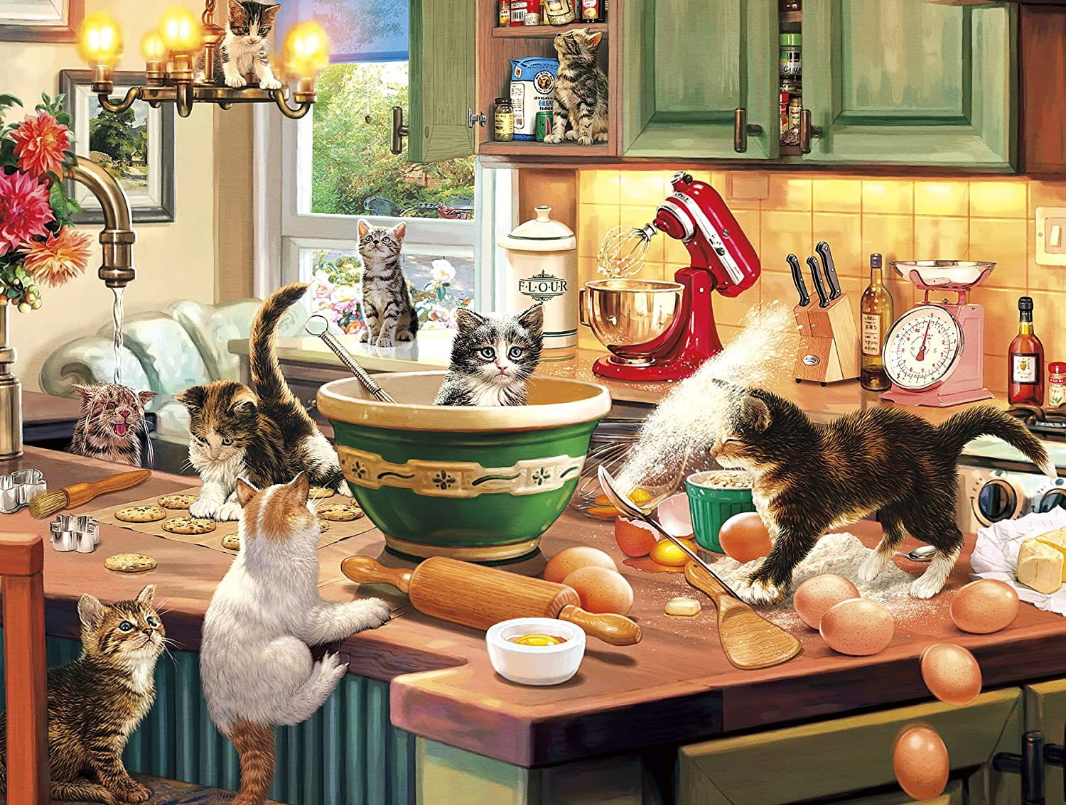 "Buffalo Games - Kitten Kitchen Capers - 750 Piece Jigsaw Puzzle, Brown,white,red,green, 24""L X 18""W"