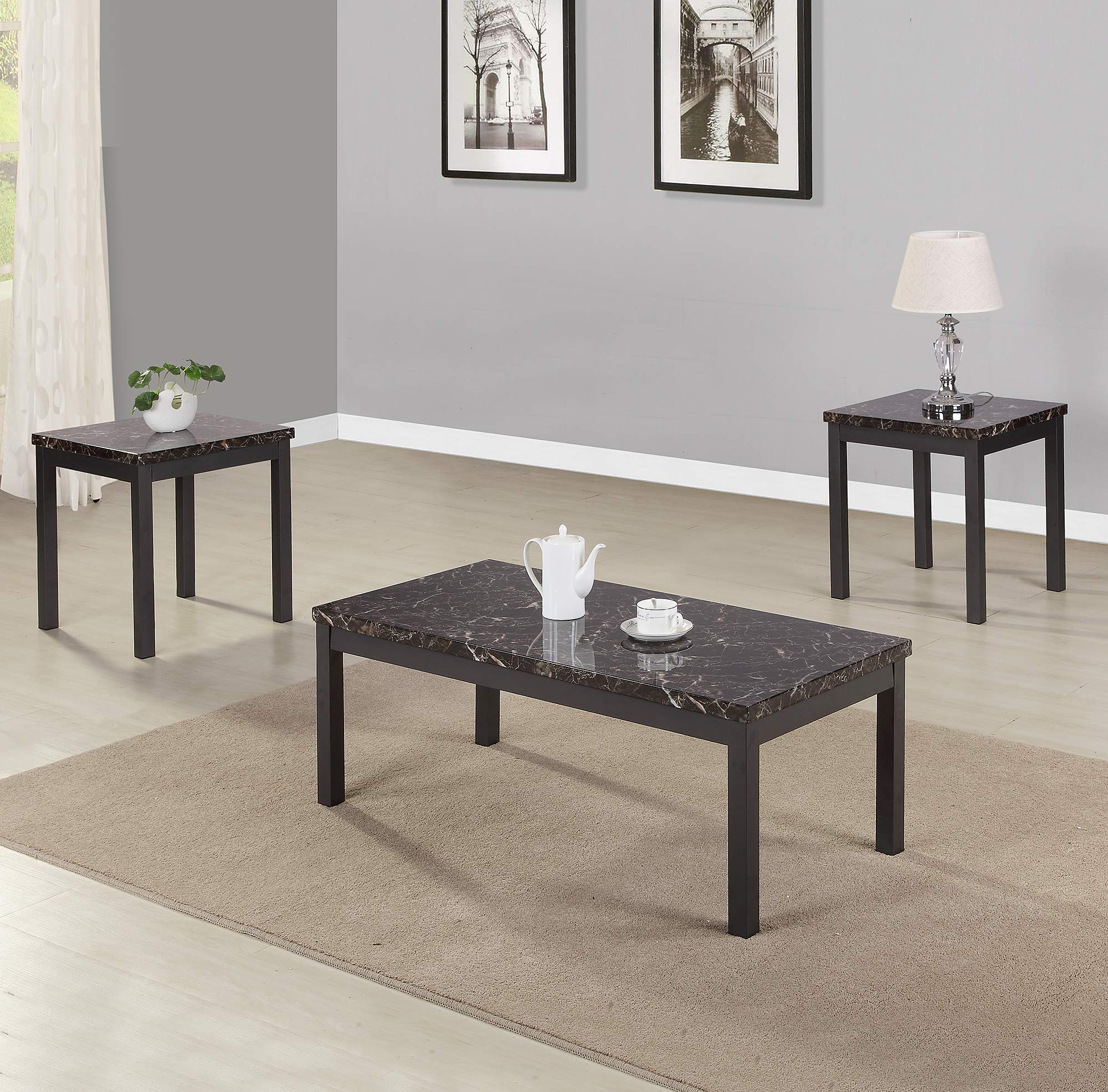 EiioX Faux Marble Coffee 3 Piece Modern End Table and Cocktail Desk Set with Metal Legs and Apron Living Room Furniture, Black by EiioX