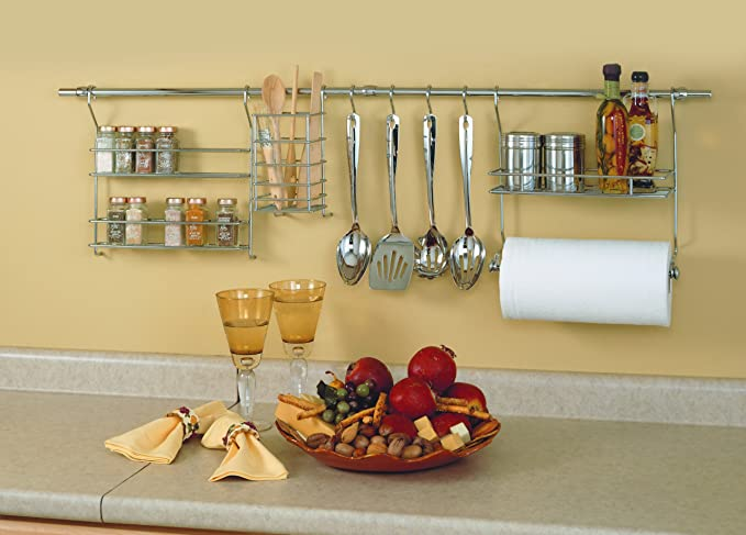 Amazon.com: ClosetMaid 3059 Kitchen Organizer Rail System, Chrome: Home U0026  Kitchen