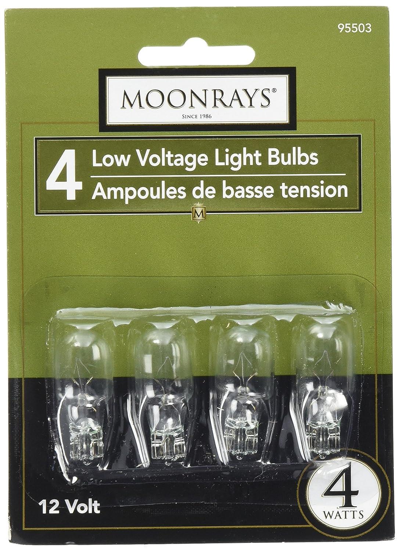 Moonrays 95503 Low Voltage Light Bulbs/Wedge Base Light Bulbs (4-Watt, Clear, 4-Piece Pack)