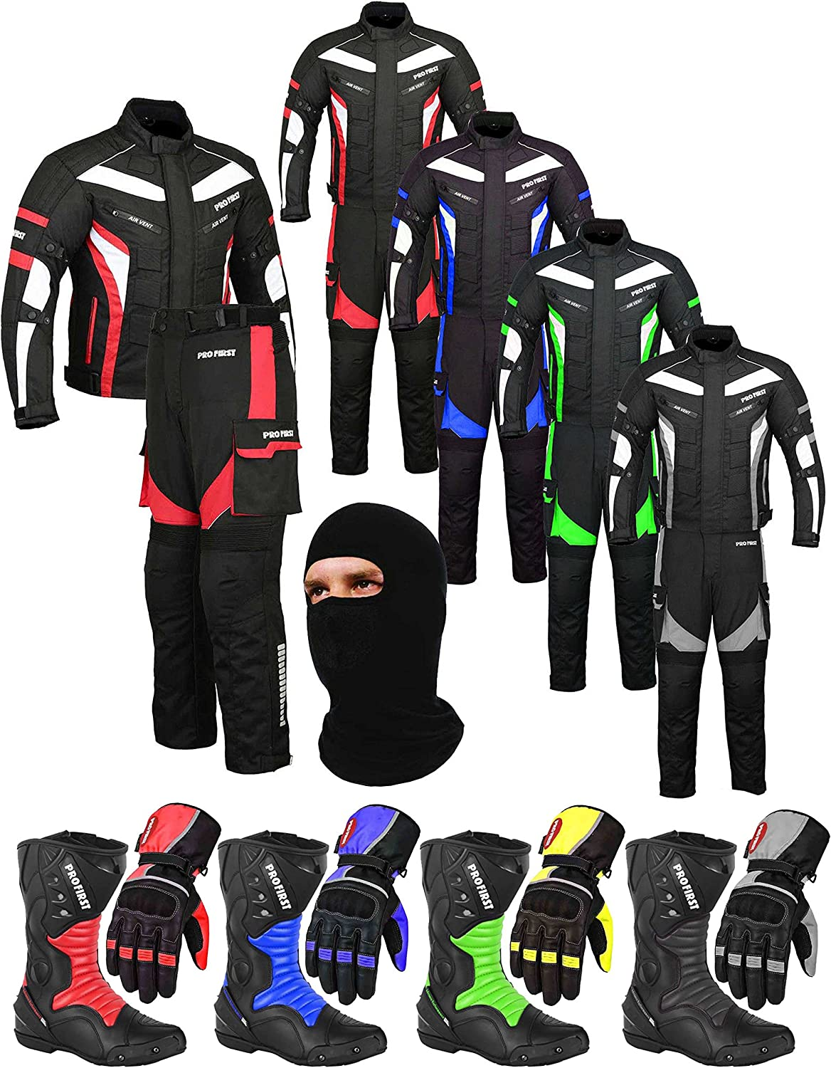 Racing Touring Events - Boots Jacket Trouser Blue - Large Balaclava A Full Set of Waterproof Motorbike Motorcycle Moped 2 Piece Suit in Cordura Fabric and CE Approved Armour Gloves