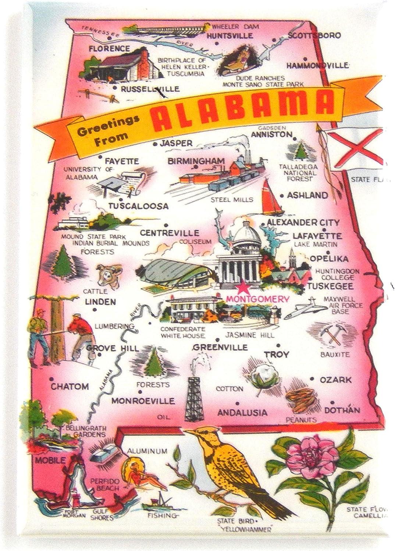 Alabama State-Shaped Magnet   Vintage Refrigerator Magnet The ❤️ Of Dixie