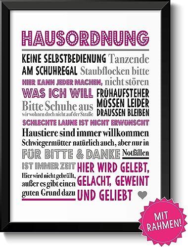 Lustige Hausordnung In Pink Bild Im Schwarzem Holz Rahmen Geschenk Geschenkidee Einzug Einweihung