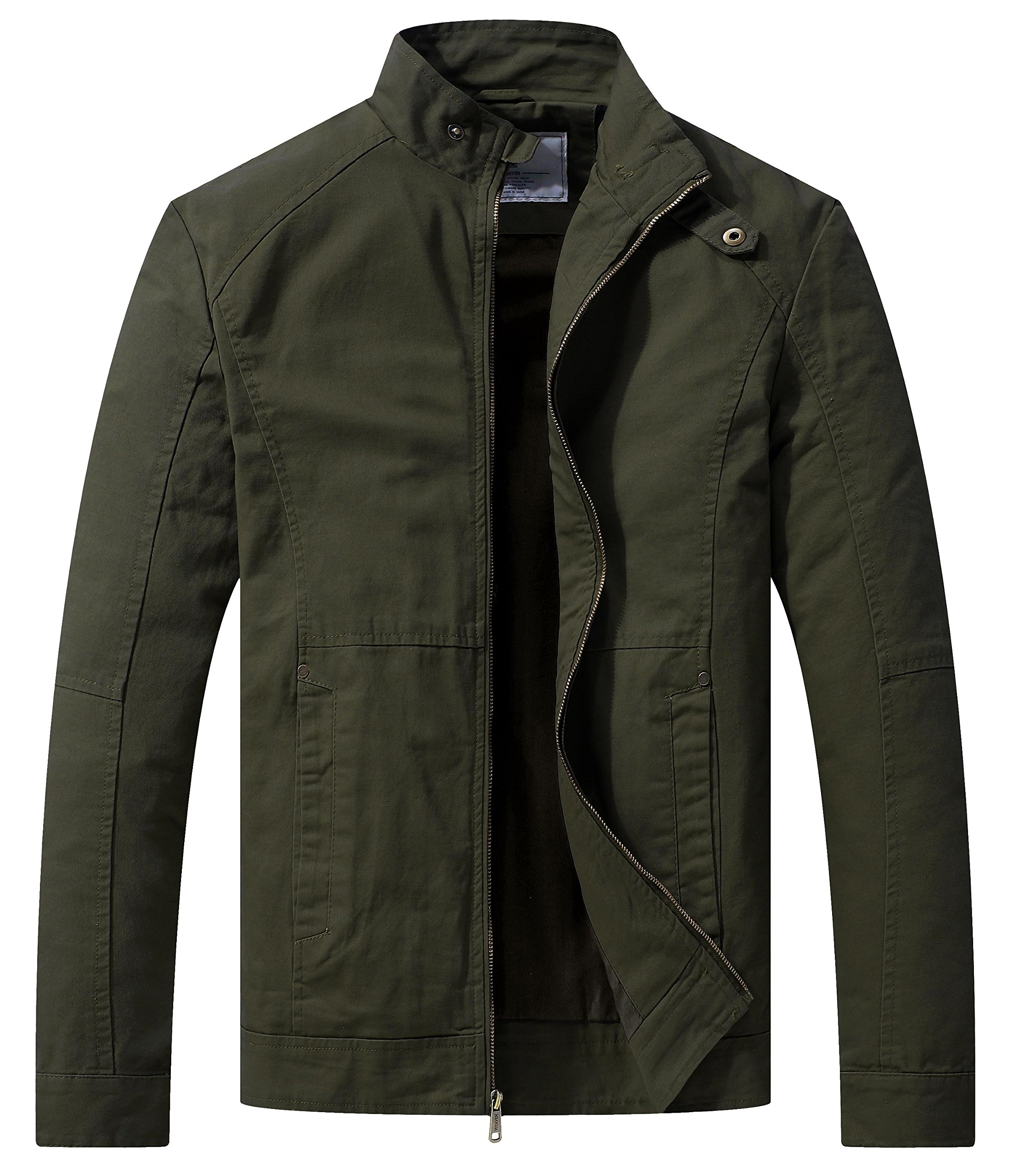 WenVen Men's Spring Casual Lightweight Full Zip Military Jacket(Army Green,L) by WenVen
