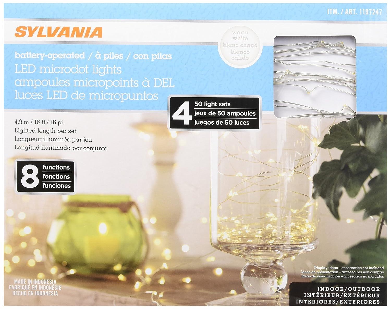 Sylvania Battery Operated Led Microdot Lights 4 X 50 Light Sets