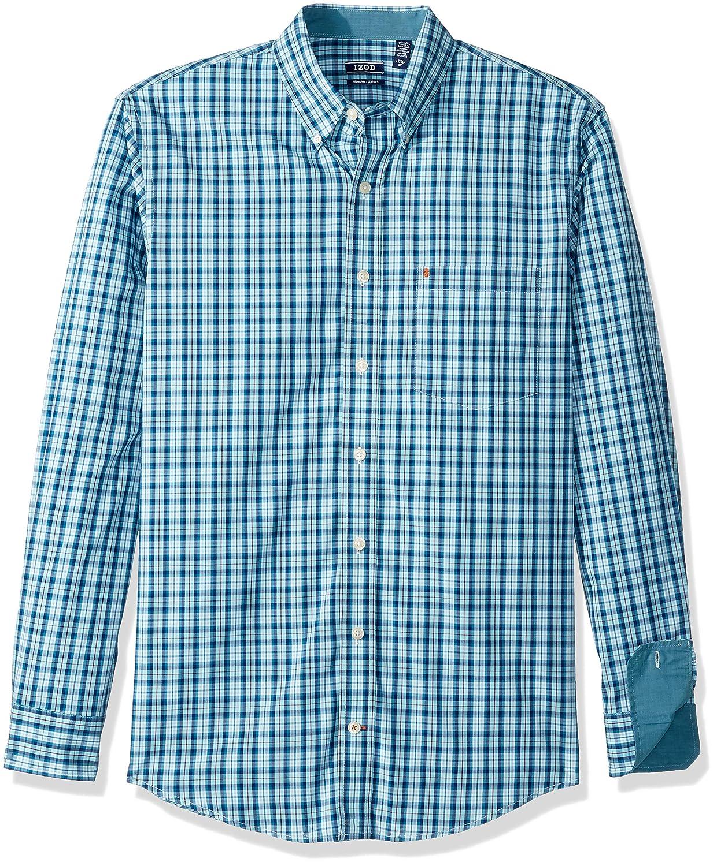 IZOD Mens Big and Tall Button Down Long Sleeve Stretch Performance Plaid Shirt