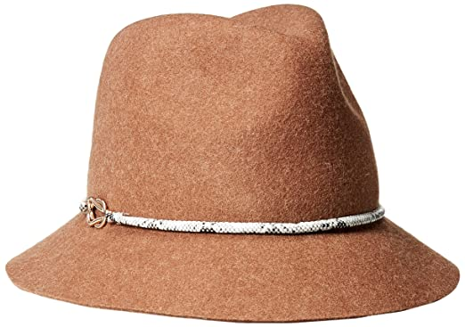 Genie By Eugenia Kim Womenu0027s Jordan Wool Felt Fedora Hat With Vegan Leather  Cord, Fawn