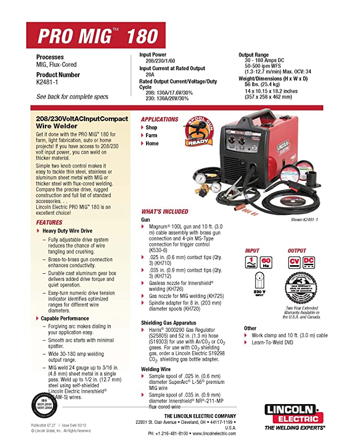 Lincoln Electric PRO-MIG 180 Welder 230-Volt MIG Flux-Cored Wire ...