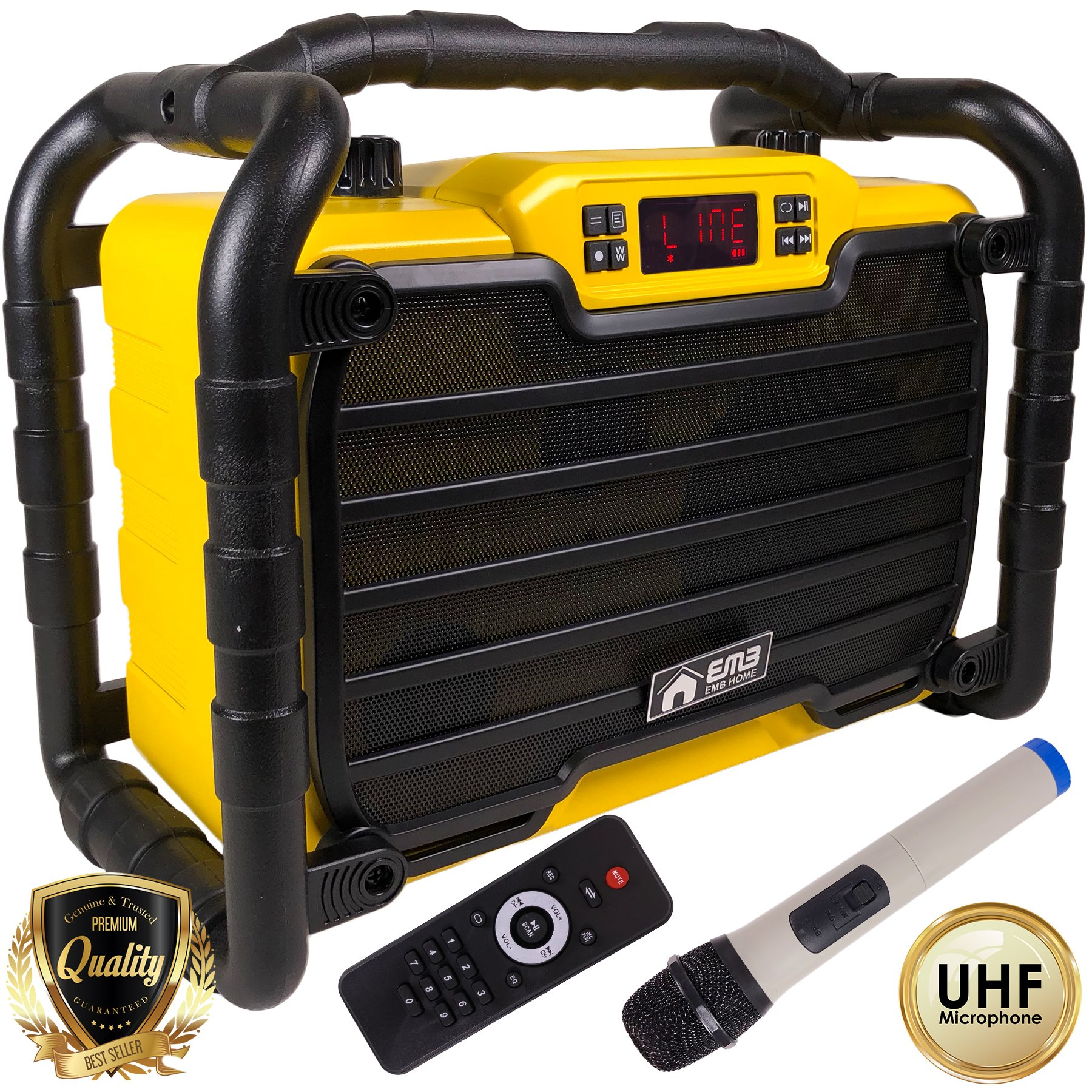 EMB Home PKL490Y PK2 300W Jobsite Water Splash Proof / Shockproof / Dustproof Bluetooth Stereo Rechargeable Power Box Speaker - Perfect for Construction Site/ Beach / DJ Party / Shop / Home / Camp