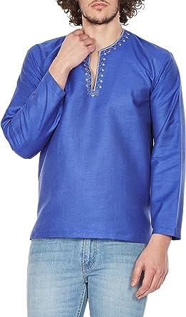 Camiseta Estilo Hindu Con Cuello Bordado Kurta Para Hombre Azul Blue 1 X Large Amazon Es Ropa Y Accesorios