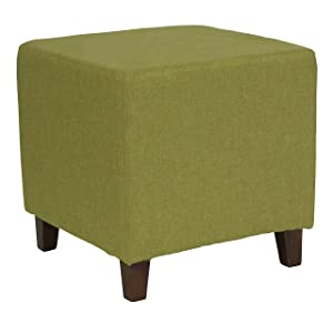 Flash Furniture Ascalon Upholstered Ottoman Pouf in Green Fabric