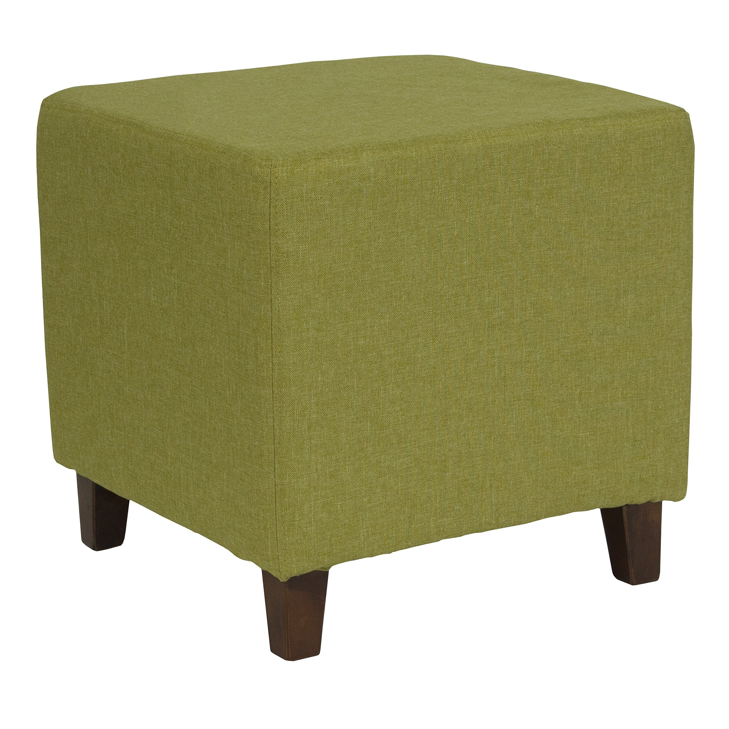 Flash Furniture Ascalon Upholstered Ottoman Pouf in Green Fabric by Flash Furniture