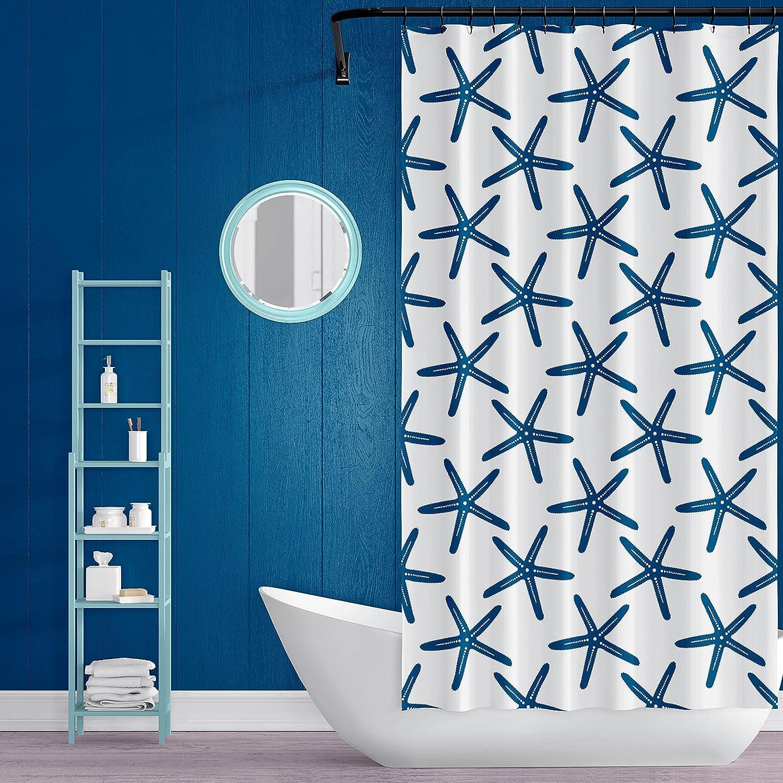 VEGA U Beach Starfish Shower Curtain for Bathroom, Nautical Bath Decor with Hooks, Hotel Quality, 72x72 Inch, Navy Blue and White (Navy Blue)