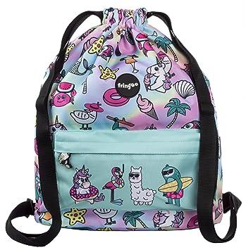 2eb4afd95e91 FRINGOO® Kids Drawstring Bag Large School Backpack PE Kit Bag Zipped Front  Pocket (Dream