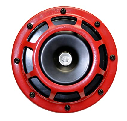 DUAL Super Tone LOUD Blast 139Db Universal Euro RED ROUND HORNS (Quantity 2) High Tone / Low Tone Twin Horn Kit with Bracket Pair Compact - Extremely LOUD ...