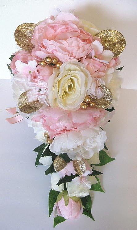 3d7da9ff353b6 17 Piece Wedding Bouquet Package Bridal Bouquet Set Light Pink Gold Blush  Silk Wedding Flowers Bridesmaid