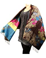 Two in One Reversible Cold Weather Acrylic Woven Floral Scarf Wrap