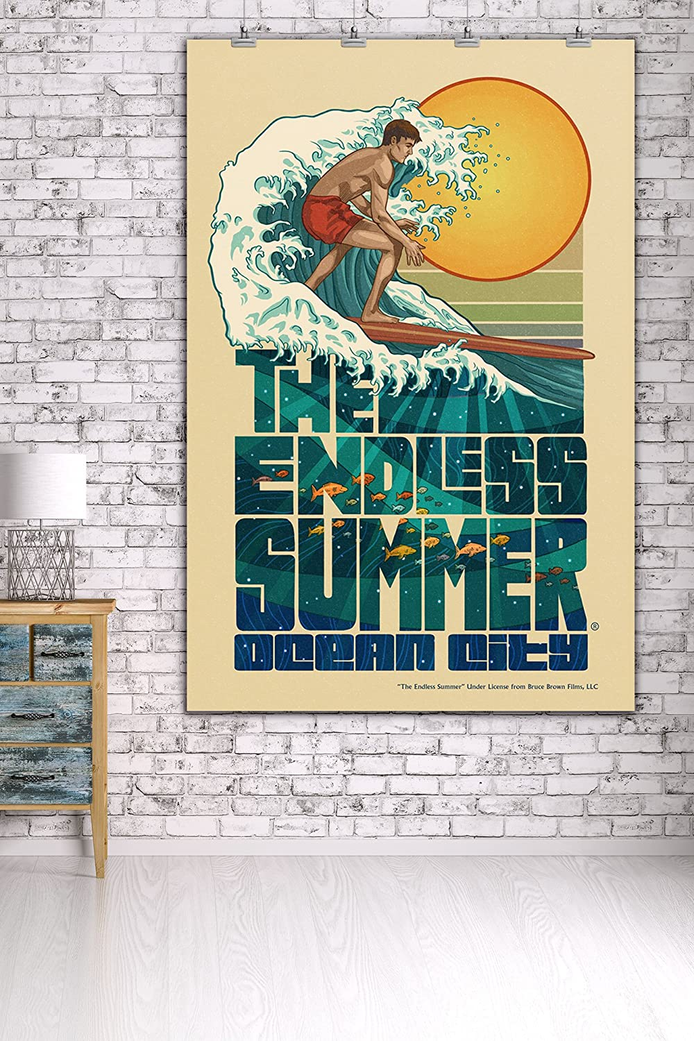 Amazon.com: Ocean City, New Jersey - The Endless Summer - Underwater Scene (11x14 Double-Matted Art Print, Wall Decor Ready to Frame): Arts, Crafts & Sewing