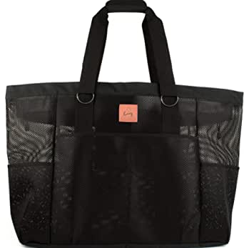 "McKenzie James The Bag Extra Large Black Mesh Bag | Beach, Pool, Travel, Sports, Gym, Grocery & More | 24"" x 18"" x 8"""