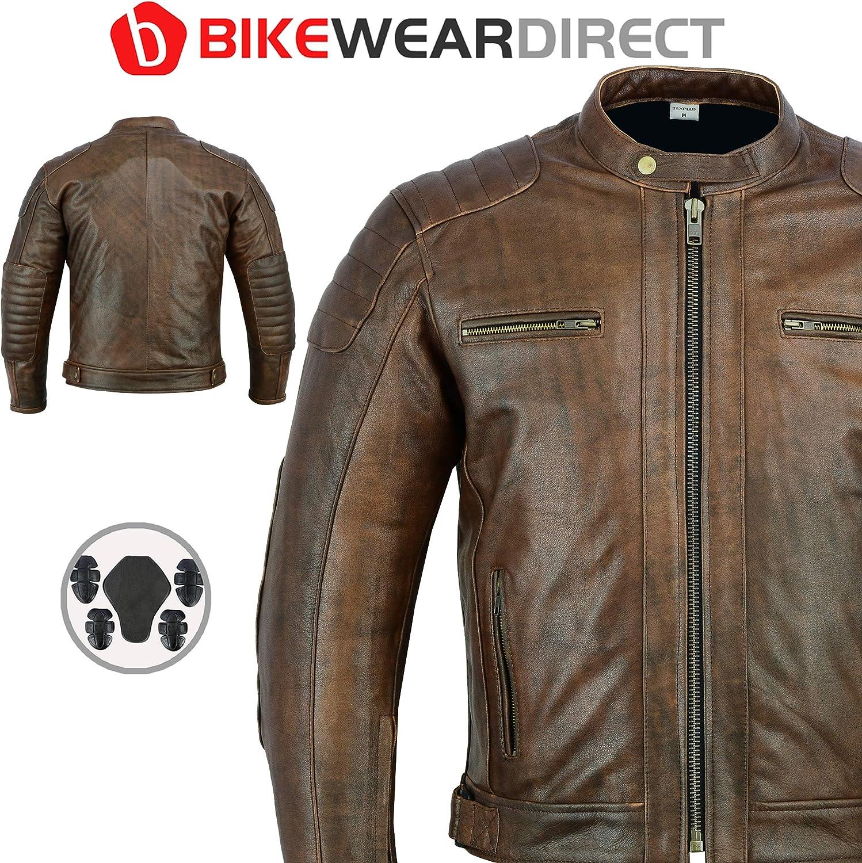 Alle Gr/ö/ßen Braun Texpeed Motorrad Lederjacke Mit CE-Schutz
