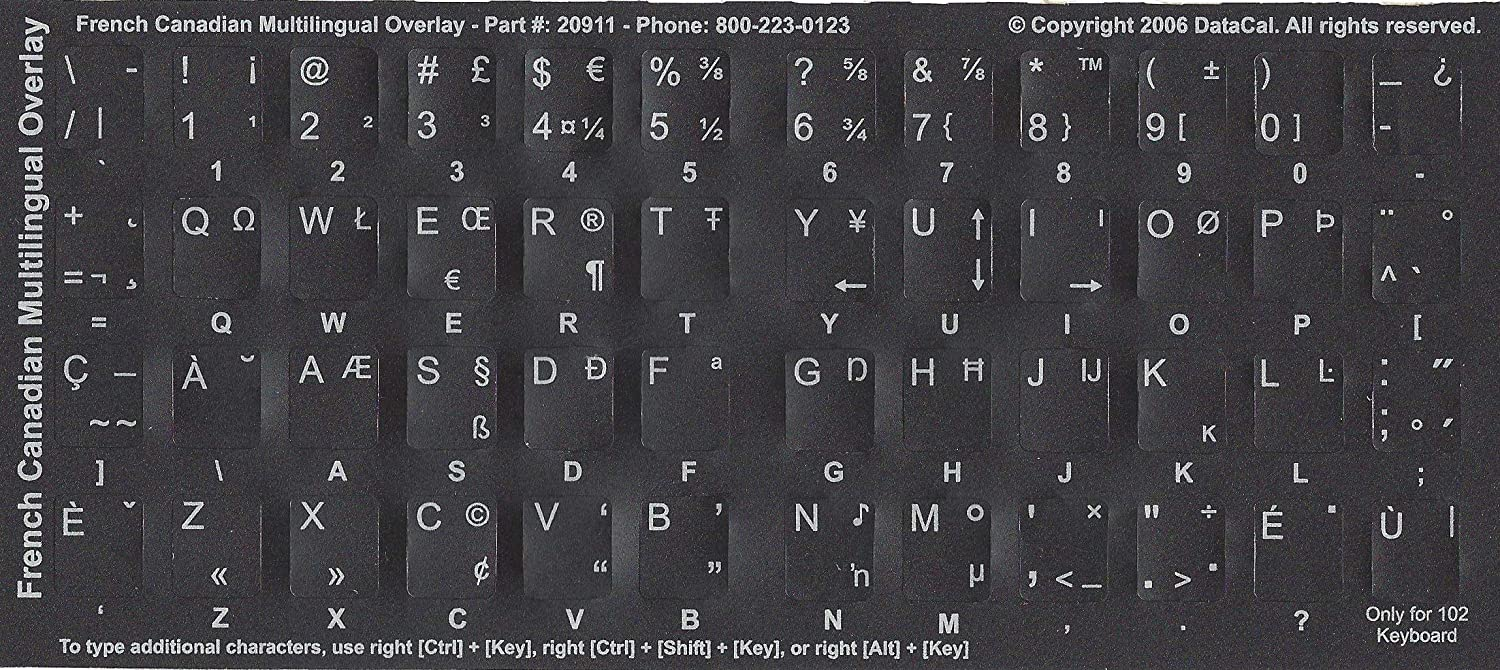 QWERTY Black Non-Transparent Canadian-French Multilingual Characters Keyboard Stickers Labels Overlays