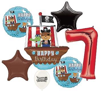 Amazon.com: Barco pirata de anclas de 7o cumpleaños ramo de ...