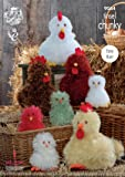 King Cole Tinsel Chunky & Dollymix DK Knitting Pattern Easy Knit Chickens Hens & Chicks (9064)