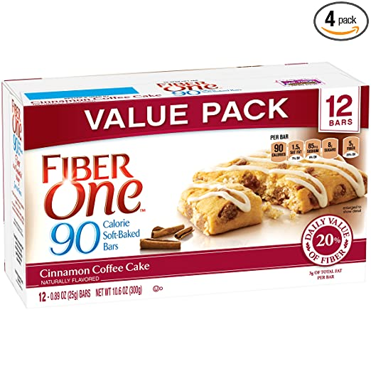 Fiber One 90 Calorie Bar, Cinnamon Coffee Cake, 12 Count (Pack of 4)