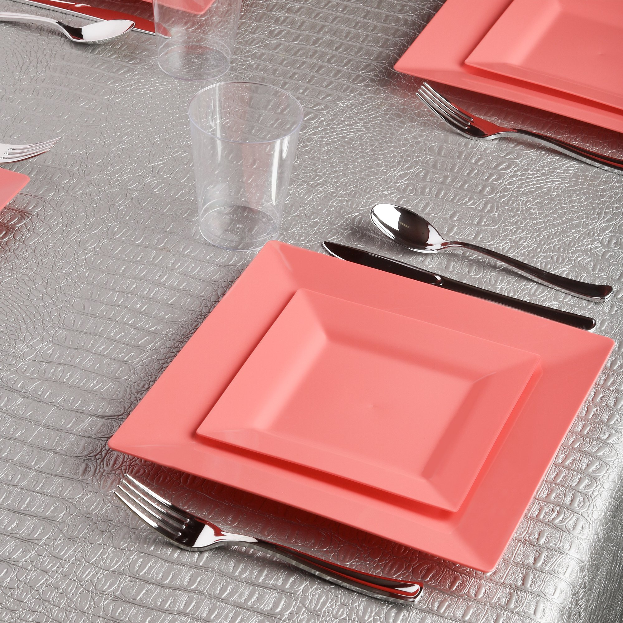 Kaya Collection - Square Coral Blush Peach Disposable Plastic Dinnerware Party Package - 60 Person Package - Includes Dinner Plates, Salad/Dessert Plates, Silver Cutlery and Tumblers