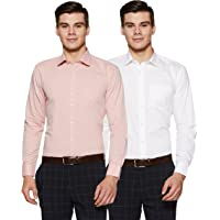 Amazon Brand - Symbol Men's Solid Regular Fit Full Sleeve Formal Shirt (Combo Pack of 2)