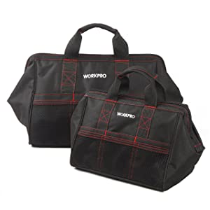 WORKPRO 2-Piece Tool Bag Combo 13-inch &18-inch, Zip-Top, Wide Open Mouth Storage