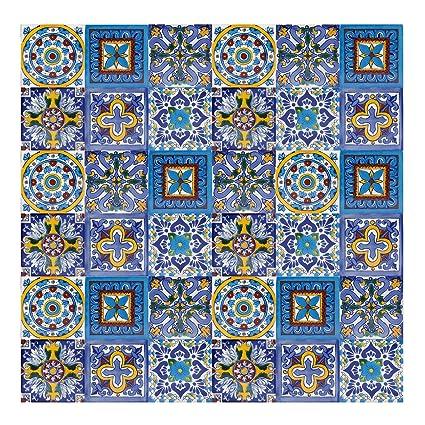 Armando - Piastrelle Messicane Talavera | 30 piezzi 10x10 cm | Mattonelle  colorati, decorati | Specchio da parete cucina, bagno, WC | Originale, ...