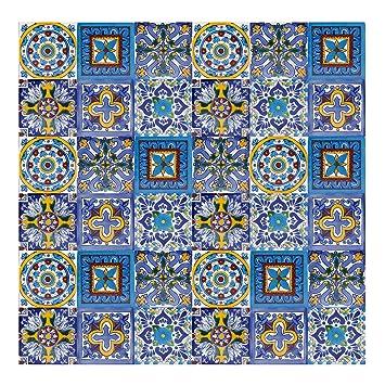 Piastrelle 10x10 Colorate.Armando Piastrelle Messicane Talavera 30 Piezzi 10x10 Cm Mattonelle Colorati Decorati Specchio Da Parete Cucina Bagno Wc Originale